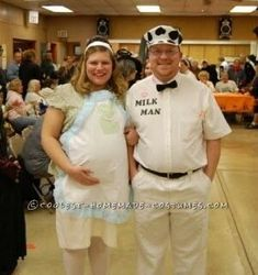 homemade 1950s pregnant housewife and milkman costume - Pregnant Halloween Couples Costumes