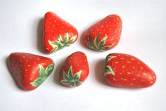 Hand Painted Rocks Berry Red Strawberries. Fruit Stones Spring Garden. ready to ship gift for the gardener