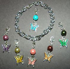 7pc Butterfly Clip On Charm Bracelet NEW Silver Glass Pearls