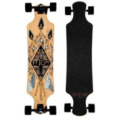 With a stylish design, the Atom 39-inch Tiki longboard is sure toimpress when cruising through town or your college campus. Builtwith a bamboo maple laminate deck and ABEC 9 bearings, you'll beable to