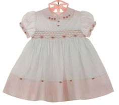NEW Sarah Louise Vintage Style Pink and White Smocked Dress with Embroidered Rosebuds $65.00