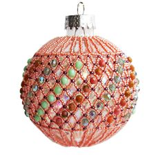 Peachy and Green Christmas Ornament Handmade Christmas Decoration by Mitalina on Etsy