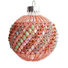 Peachy and Green Christmas Ornament Handmade Christmas Decoration by Mitalina on Etsy