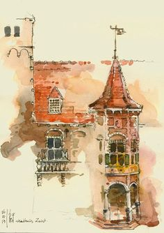 Sketch of the townhall of Zeist, near Utrecht in the Netherlands, by Rene Fijten