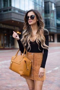 Camel Suede Skirt. Asos Bodysuit. Asos Suede Skirt. Zara Black Heels. Nasty Gal Sunglasses. GiGi New York Bag.