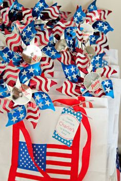 red white blue stars and stripes patriotic first birthday party pinwheels