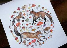 Irish Red Fox Family A5 Illustration Print