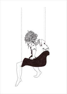 Dessin noir et blanc d'Alice Dufay en vente sur L'Affiche Moderne