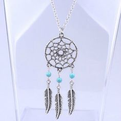 Dream Catcher Chain Necklace Dangling Feather Charms via UrbanDivaCouture. Click on the image to see more!