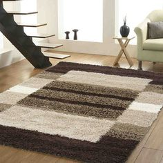 Presto Bazaar Brown N Beige Colour Geometrical Shaggy Carpet - (product Code - Living Room Partition Design, Room Partition Designs, Diy Carpet, Rugs On Carpet, Carpet Ideas, Carpets Online, Rug Inspiration, Geometric Rug, Beige Color