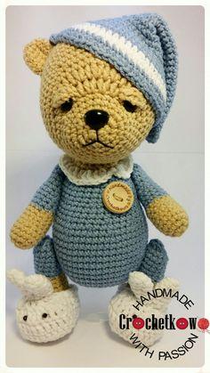 Amigurumi, sleepy teddy, teddy bear, Sidrun, Crochetkowo