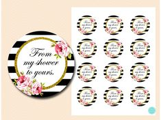Floral Black and Gold My Shower to Yours Tags Bridal Shower Favors, Baby Shower Games, Tags, Floral, Gold, Free, Black, Black People, Flowers