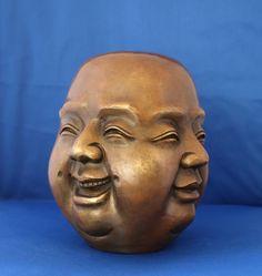 Groot bronzen 4 faces Boeddha - China - eind 20e eeuw