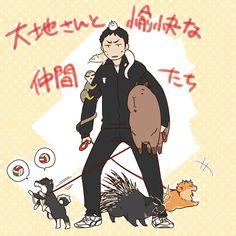Haikyuu as animals! Nishinoya's so cute XD Kagehina, Daichi Sawamura, Daisuga, Sugawara Koushi, Nishinoya Yuu, Tsukishima Kei, Hinata Shouyou, Haikyuu Karasuno, Haikyuu Funny