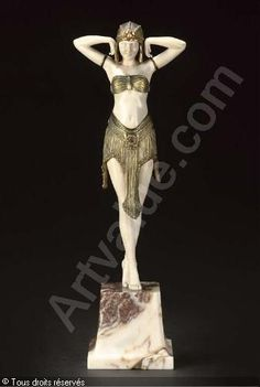 dimitri chiparus sculpture | Ivory and bronze dancer statue by Dimitri Chiparus