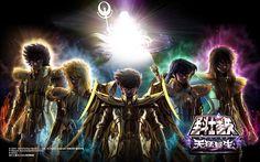 Caballeros de Oro: Ikki de Leo, Hyoga de Acuario, Seiya de Sagitario, Shiryu de Libra y Shun de Virgo.