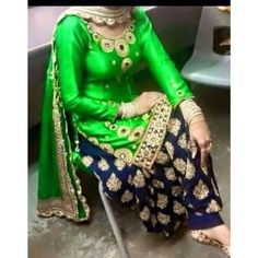 Amazing Designer Green Color Fancy Embroidary patiyala Suit