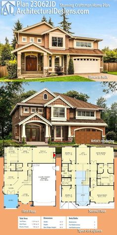 Architectural Designs 3-Bed Craftsman House Plan 23062JD comes to life in Washington (top) and shown as conceived (below). The home gives you just over 3,000 square feet of heated living space. Ready when you are. Where do YOU want to build? by maryanne