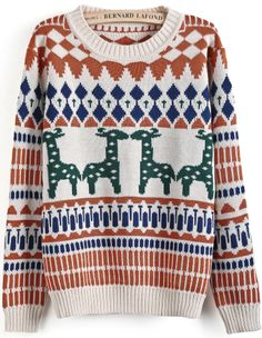 Apricot Long Sleeve Deer Geometric Pattern Sweater - Sheinside.com
