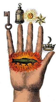 ☆ Alchemical Symbols: Alchemical symbols on The Hand of Philosophy, from 1667. A salamander surrounded by flames can be seen on the palm. At the time, salamanders were thought to have mystical properties. Alchemy was the pseudo-scientific predecessor of chemistry. Among other pursuits, alchemists searched for formulas that would turn base metals into gold.☆