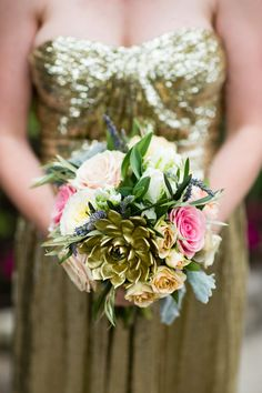 Absolutely beautiful use of succulents in this bouquet | Cory Ryan Photography