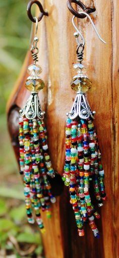 Seed bead earrings, tassel, beaded, hand stitched, fringe, handmade, multicolored, long, dangle, colorful, boho, bead, Native American inspired, crystal, silver, hippie on Etsy, $35.00