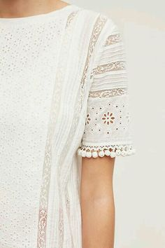 mieke embroidered blouse / top with Pom Pom trim on sleeve. Beautiful and feminine Kurta Designs, Blouse Designs, Indian Designer Wear, Pakistani Dresses, Fashion Outfits, Womens Fashion, Indian Wear, Indian Outfits, Dress To Impress