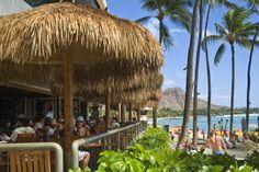Dukes Canoe Club on the beach at Waikiki in the Outrigger Waikiki Hotel.