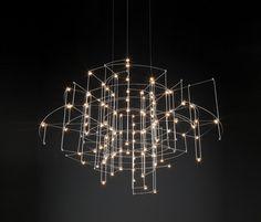 Buy online Spectre By quasar, nickel pendant lamp design Jan Pauwels Suspended Lighting, Linear Lighting, Unique Lighting, Lighting Design, Led Pendant Lights, Pendant Chandelier, Pendant Lighting, Interior Lighting, Home Lighting
