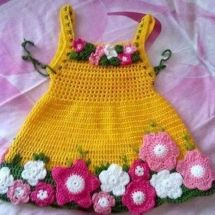 Baby Knitting Patterns Easy How To Make Crochet Baby Dress Baby Knitting Patterns, Crochet Blanket Patterns, Crochet Baby Costumes, Crochet Girls, Knitted Baby Blankets, Crochet Baby Booties, Beautiful Crochet, Baby Dress, Crochet Projects