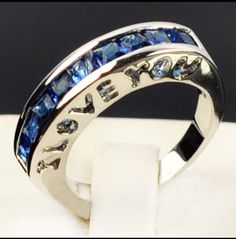 """I LOVE YOU Ring with a """"thin blue line"""""""