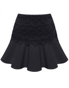 Black Casual Ruffle Lace Skirt <3