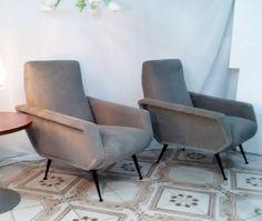 coppia poltrone in stoffa Armchairs,chaises,Design,Marco Zanuso anni 60