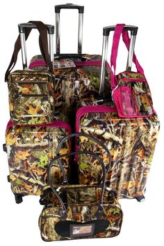 Suitcase Real Tree Camo 6 Pc Travel Set 360 Spinner Messenger Gadget P – FUNsational Finds