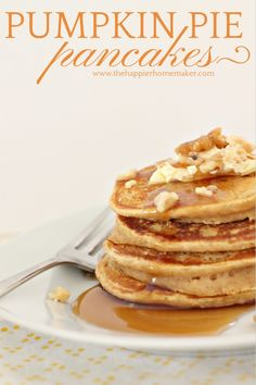Pumpkin Pie Pancakes-these are delicious-light and fluffy but full of pumpkin pie flavor!