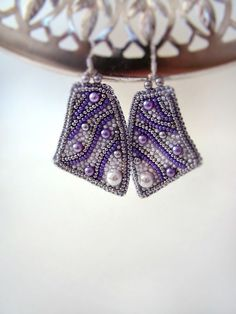 Lavender silvery Earrings Beaded Bead Embroidered by ODesing