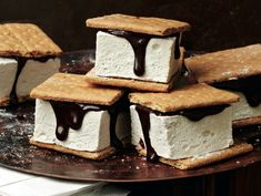 S'mores with Maple-Bourbon Marshmallows, Sussman recipe via SeriousEats (notably made WITHOUT corn syrup! bourbon, unflavored gelatin, maple syrup, sugar, bittersweet chocolate, heavy cream, graham crackers)