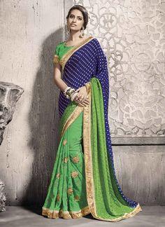 Vehemently Green Patch Border Work Pure Chiffon Designer Saree