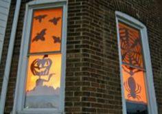 Halloween scene using Orange plastic table cloth and black poster boards