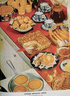 "yourgrandmasrecipebox: "" Breakfast spread Betty Crocker's Picture Book 1950 "" Breakfast Buffet, Breakfast Time, Food Styling, Vintage Baking, Vintage Food, Retro Food, Cookery Books, Old Fashioned Recipes, Vintage Cookbooks"