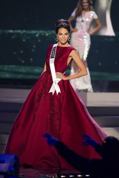 Yulia Alipova, Miss Russia 2014 competes on stage in her evening gown during the Miss Universe Preliminary Show in Miami, Florida in this January 21, 2015