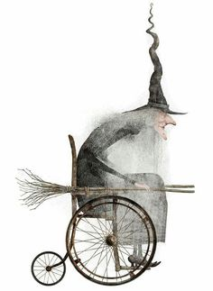 Witch in a Wheelchair Art Illustration Holidays Halloween, Vintage Halloween, Halloween Crafts, Halloween Decorations, Origami Halloween, Halloween Pictures, Art And Illustration, Halloween Illustration, Desenhos Tim Burton