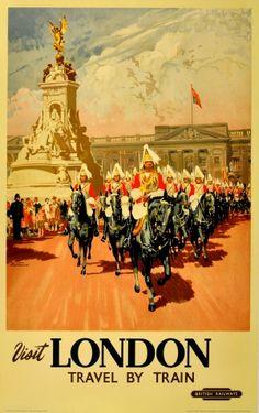 Visit London, British Railways, 1950s - original vintage poster listed on AntikBar.co.uk