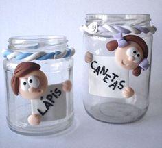 Decore seus potes de vidro sem tampa usando a técnica do biscuit
