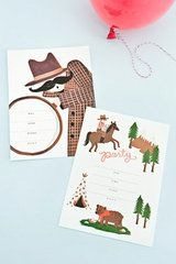 Children's party invitations from Rifle Paper Co. Boxed set of 10 with cream envelopes in either Detective or Cowboy designs. Invitations are 17.8cm x 12.7cm.