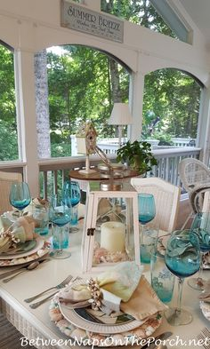Nautical Table Setting with Shell Chargers, Sailboat Flatware & a Volkswagen Vacation Surf-Board Bug