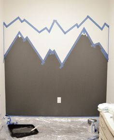 How to Paint a Mountain Mural - The DIY Lighthouse Step 3 Mountain Mural Tutorial - Easy and quick step by step DIY mountain mural tutorial for how to paint a mountain mural on a budget. Cute nursery wall idea for a mountain themed room. Playroom Mural, Kids Room Murals, Kids Room Paint, Kids Rooms, Nursery Wall Murals, Mountain Mural, Mountain Nursery, Mountain Bedroom, Room Wall Painting