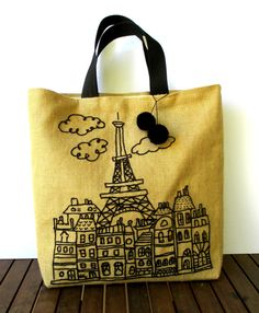 Handmade embroidered jute tote handbag  a by Apopsis,