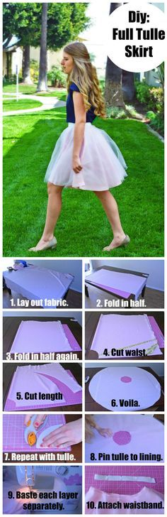 How to make a tulle skirt. This post has pictorials for the math part and the sewing part, so it makes it super easy.
