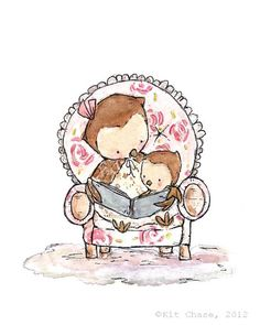 Even though I don't have kids, I just love Kit's stuff! Book Love Archival Print Children's Art by trafalgarssquare Blue Books, Pink Book, Gif Animé, Baby Owls, Baby Art, Cute Owl, Pics Art, Cute Illustration, Watercolor Illustration